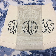 Italian Damask Guest Towel in Ivory