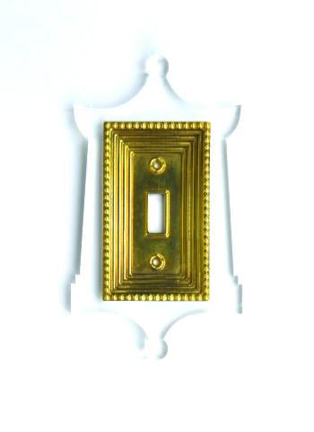 Pagoda Light Switch Plate : Brass and Clear