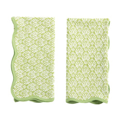 Scalloped Green Peacock Print Dinner Napkins
