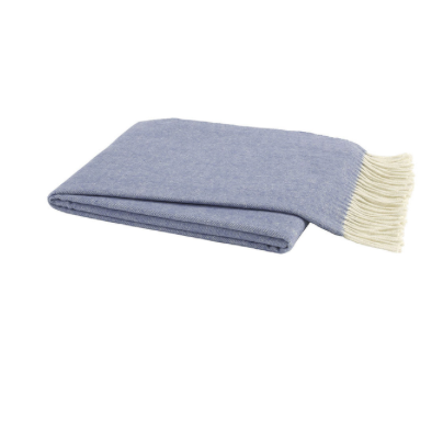 Italian Herringbone Throw - Chambray