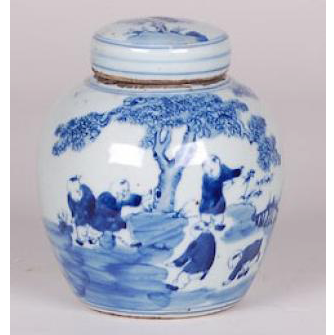 Blue and White Ginger Jar with River Scene