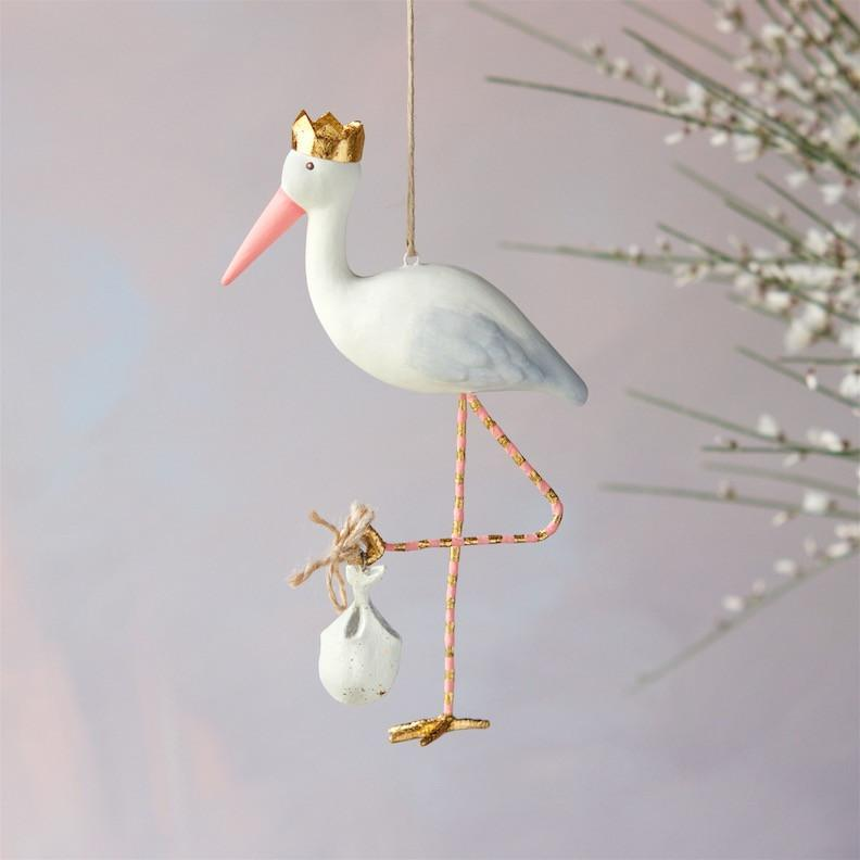 Royal Stork Ornament Pink