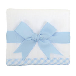 Blue Gingham Trim Burp Pad
