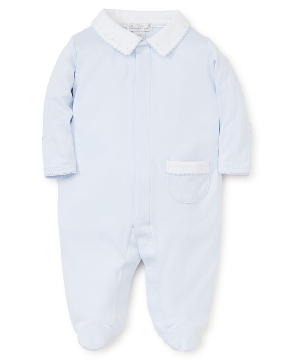 Kissy Kissy Light Blue New Beginnings Footie with Collar
