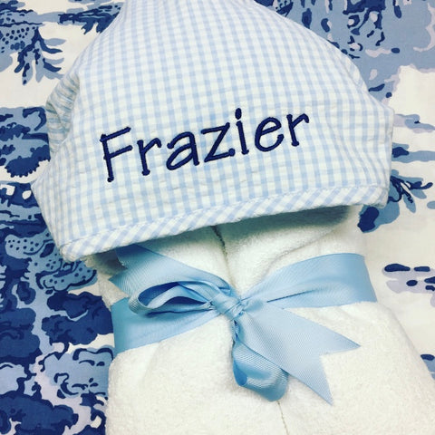 Gingham Hooded Towel - Blue