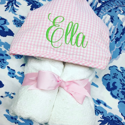 Gingham Hooded Towel - Pink