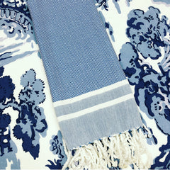 Turkish Towel - Blue with White Stripe