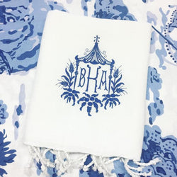 Pagoda Monogram in Colonial Blue