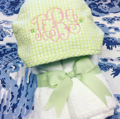 Gingham Hooded Towel - Green