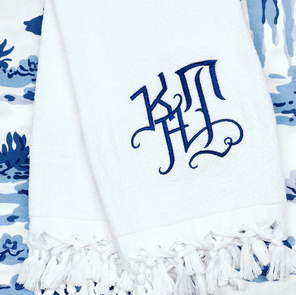 White Terry Fringe Hand Towel