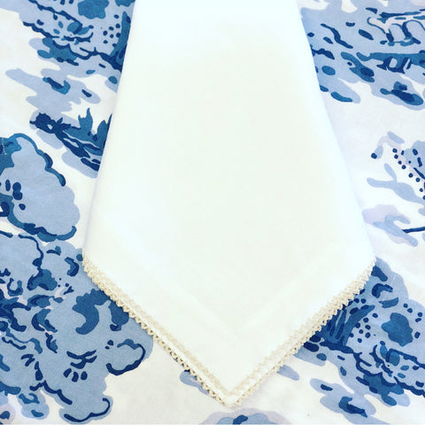 White Linen Dinner Napkin with Natural Picot Trim