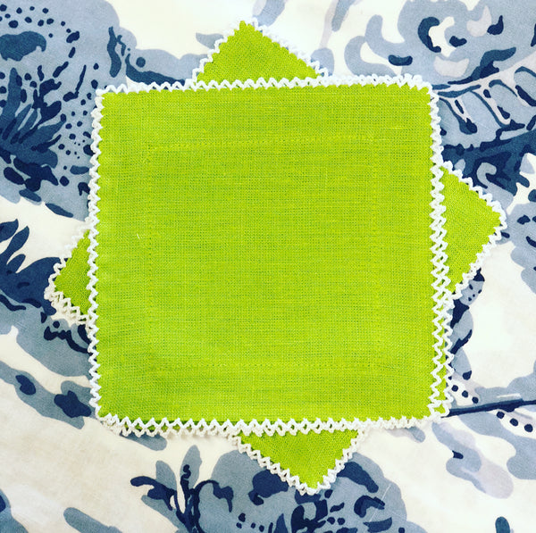 Green Linen Cocktail Napkins with White Picot Trim