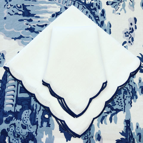 Scalloped Linen Dinner Napkins - Navy Blue