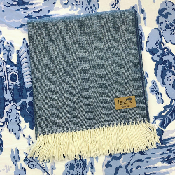 Italian Herringbone Throw - Midnight