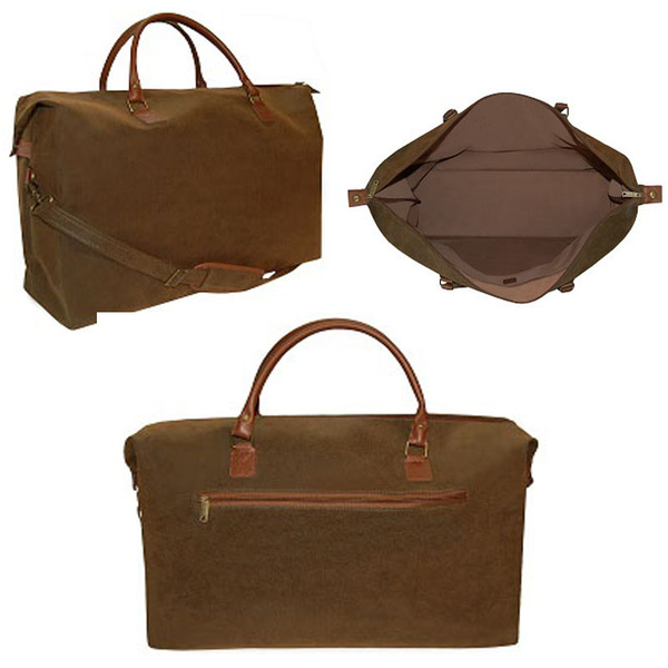 Dark Brown Scotch Grain Large Duffle