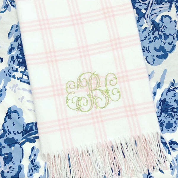 Pink Window Pane Check Flannel Baby Blanket