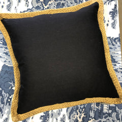 Navy and Jute Trim Pillow