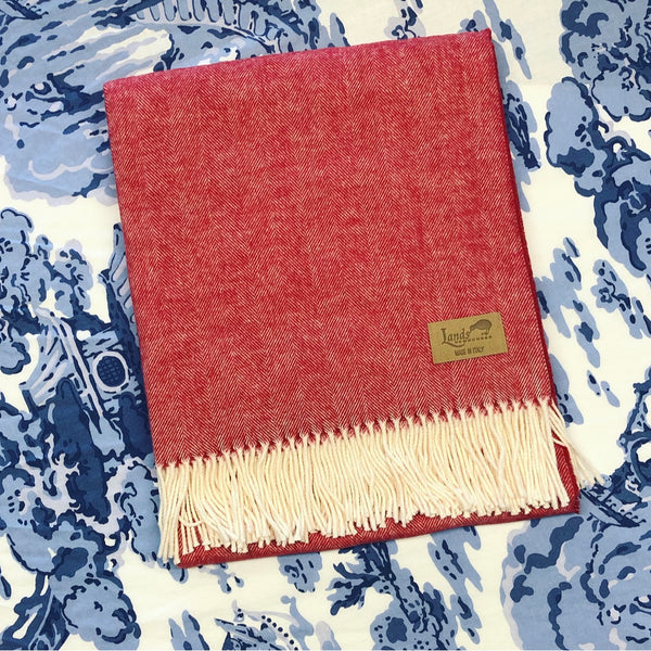 Italian Herringbone Throw - Red