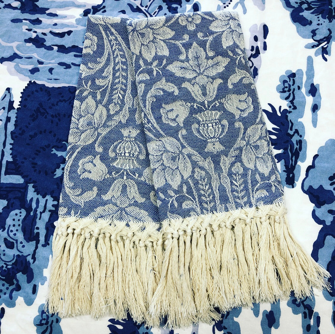 Guest Towel Blue Damask with Fringe