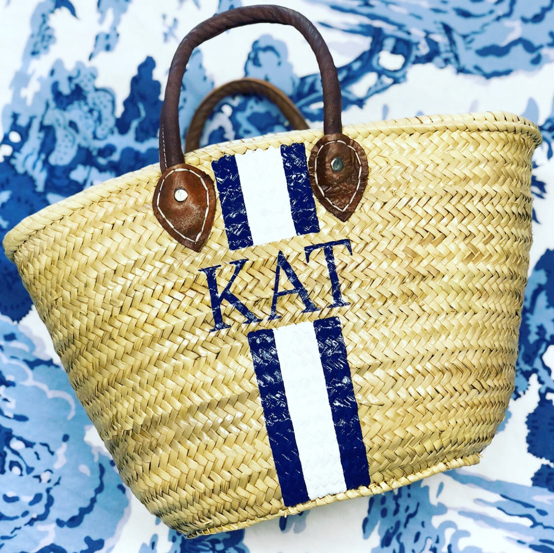 Painted Straw Tote