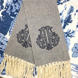 Large Navy Blue and Ivory Fringe Linen Hand Towel