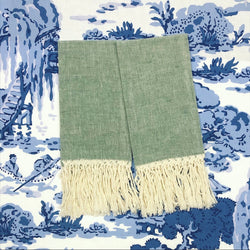 Hunter Green and Ivory Fringe Linen Hand Towel