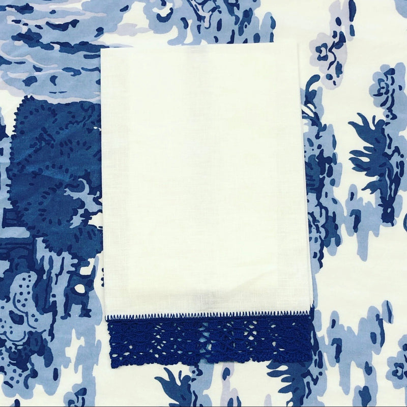 Crochet Edge Guest Towel - Blue