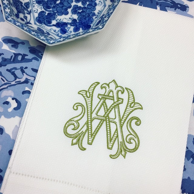 Antique Two Letter Monogram in Guacamole Green