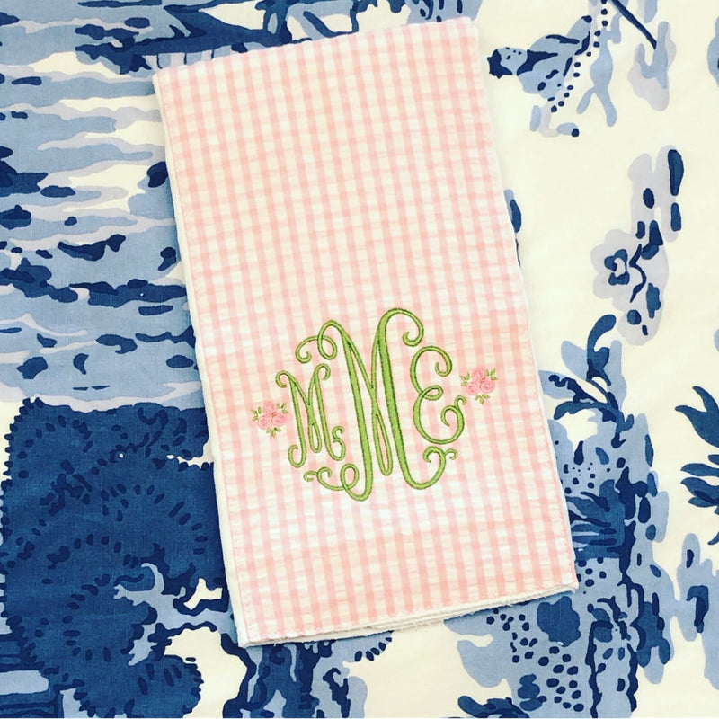 Pink Gingham Burp Pad