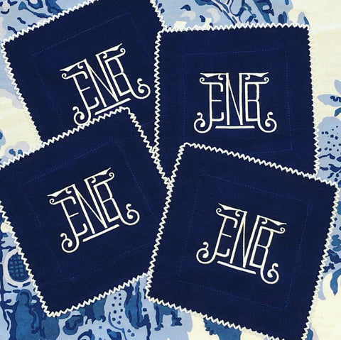 Navy Linen Cocktail Napkins with White Picot Trim