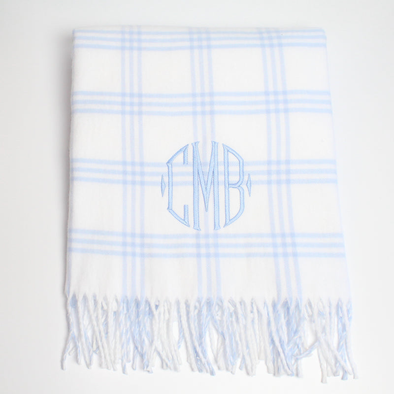 Blue Window Pane Check Flannel Baby Blanket