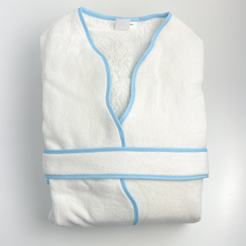 Ladies Robe with Blue Scalloped Trim