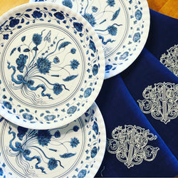Melamine Blue and White Botanical Plates
