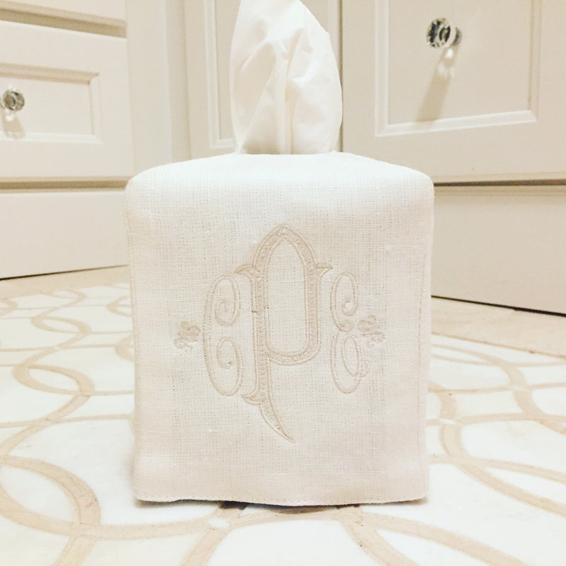 Off White Linen Tissue Box Cover