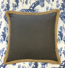 Grey and Jute Trim Pillow