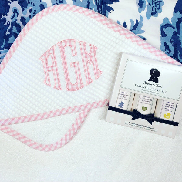 Gingham Trim Terry Hooded Towel Set - Pink