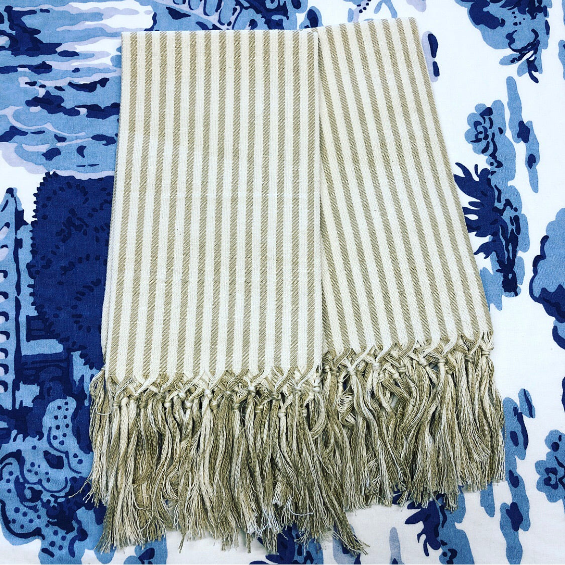 Guest Towel Sand and Ivory Stripe with Fringe