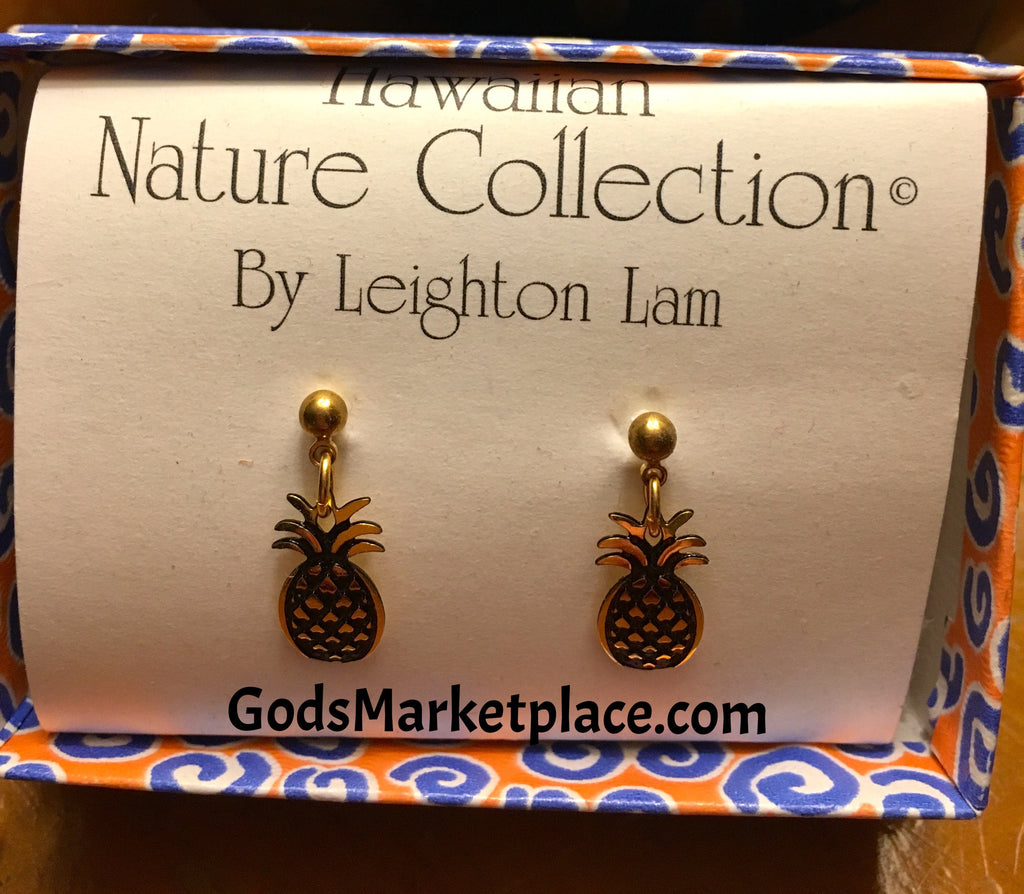 Gold Pineapple Earrings from Hawaii