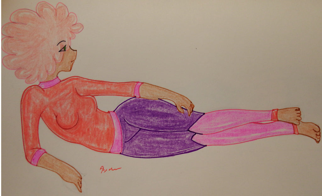 Anime Girl with Pink Hair Reclining