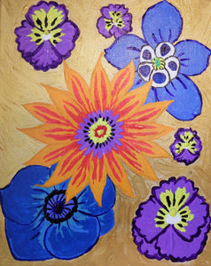 Flora in Golden with Orange, Blue and Purple Flowers