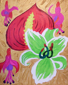 Floral in Red, Green and Violet Painting