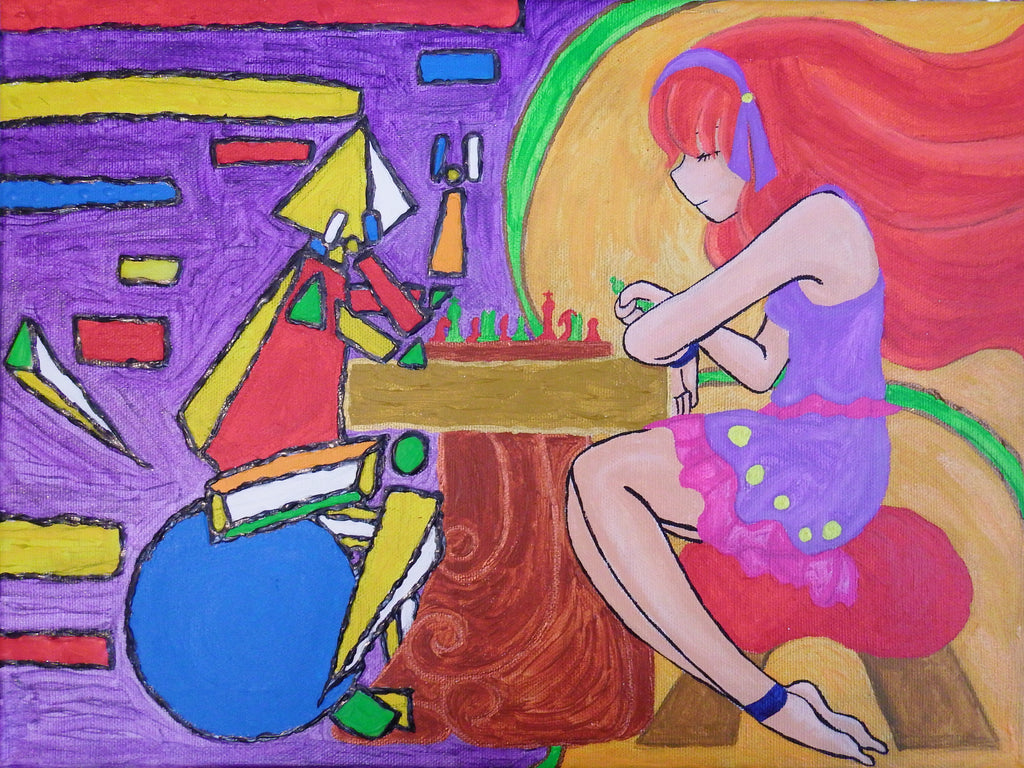 Maiden and Cubism Figure Playing Chess Acrylic Painting