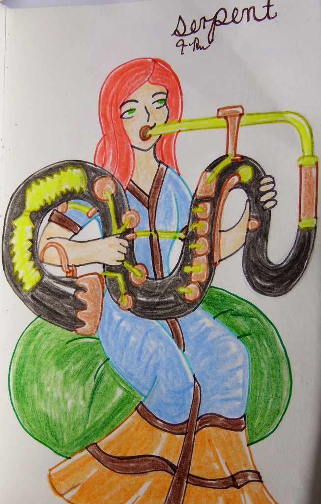 Anime Girl Playing the Serpent Drawing