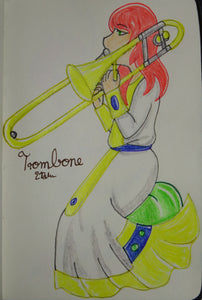 Anime Girl Playing the Trombone
