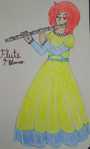Anime Girl Playing the Flute