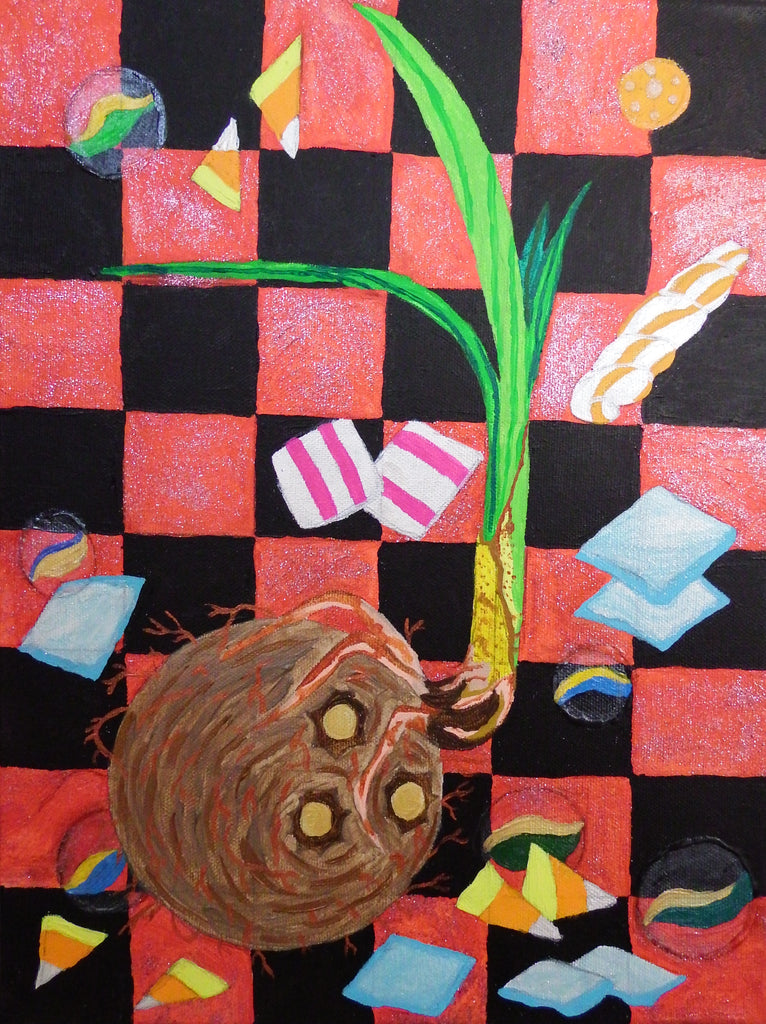 Elegua's Magic Coconut Acrylic Painting