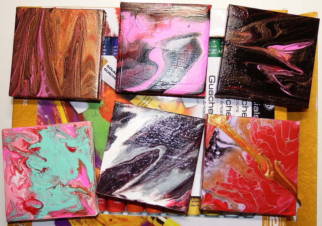 Mini Canvases Acrylic Pouring Paintings