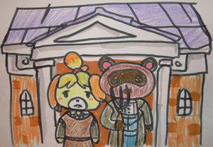 American Gothic Animal Crossing Painting Parody + 1 More Drawing