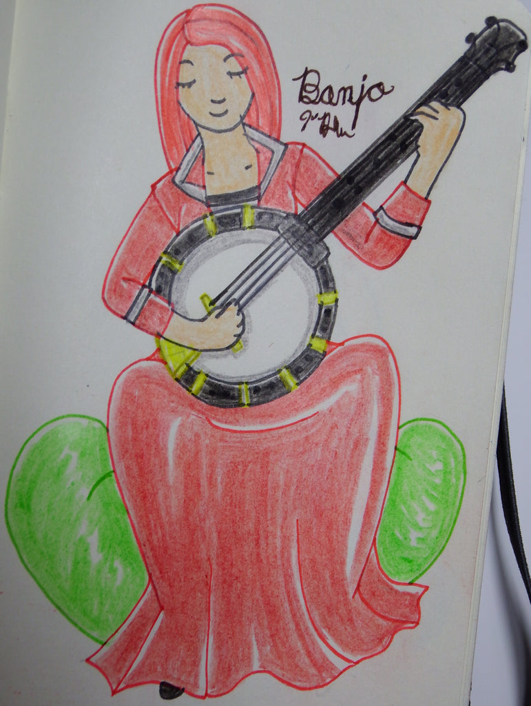 Anime Girl Playing the Banjo Drawing