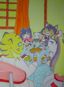 Scary Cat's Family Eating Breakfast Together Anime Kawaii Drawing